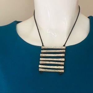 Silver necklace ladder shape